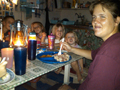 Eating dinner when the power goes out in Kerema!